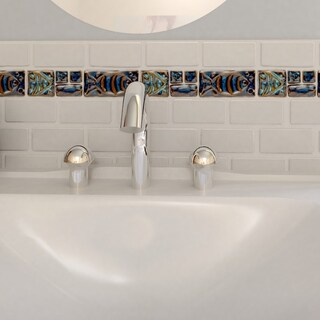 SomerTile 2x8-in Handmade Cobble Aquatica Cobalto Border Mosaic Tile (Pack of 6)