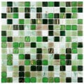 SomerTile 12x12-in Cuivre 1-in Forest Translucent Glass Mosaic Tile (Case of 13)