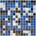 SomerTile 12x12-in Cuivre 1-in Marina Translucent Glass Mosaic Tile (Case of 13)