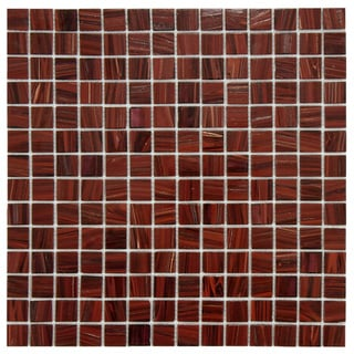 SomerTile 12x12-in Cuivre 1-in Burgundy Translucent Glass Mosaic Tile (Case of 13)