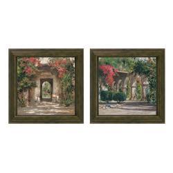 Cyrus Afsary 'Sunlit Flowered Doorway' Framed 2-piece Art Set