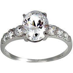 Silvertone Oval-cut Clear Cubic Zirconia Engagement-style Ring