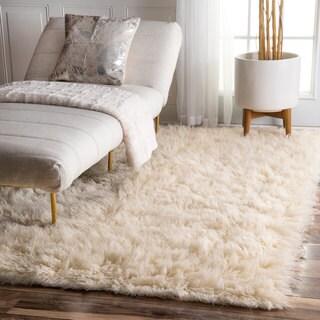 nuLOOM Hand-woven Alexa Flokati Natural Wool Shag Rug (9' x 12')