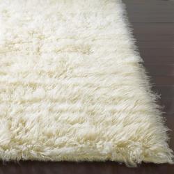 nuLOOM Hand-woven Alexa Flokati Natural Wool Shag Rug (4' x 6')
