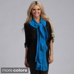 Cashmere Showroom Decorative Ruffle Cashmere/Bamboo Knit Scarf