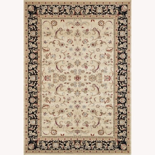 Primeval Beige/ Black Oriental Rug (5'3x 7'7)