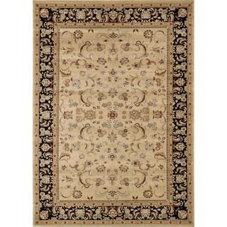 Primeval Beige/ Black Oriental Rug (7'7 x 10'6)