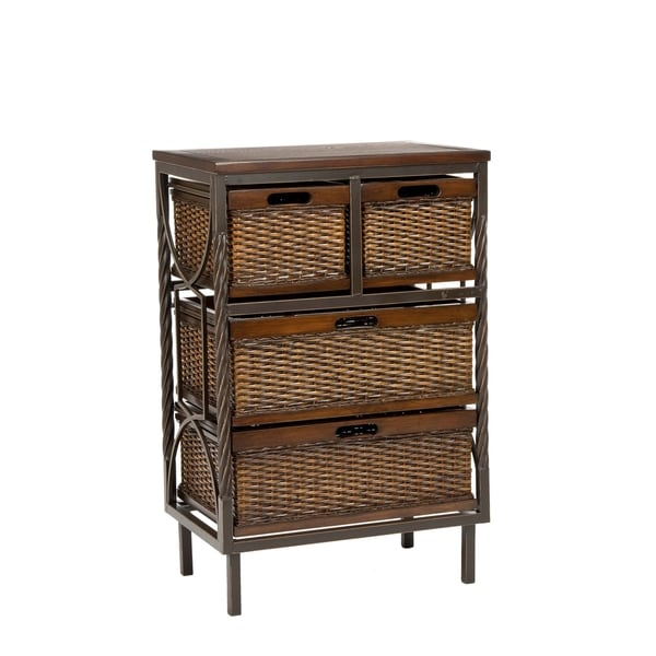 Walsham 4 Drawer Wicker Basket Walnut Kitchen Bath Linen