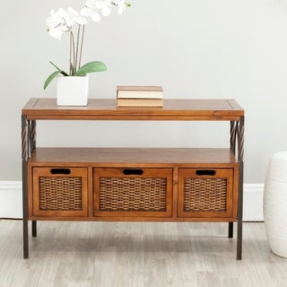 Safavieh Darwen Antique Pewter Dark Walnut Finish Console Table