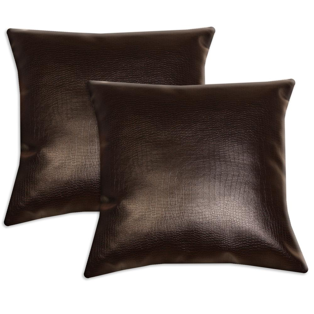 Dark Brown Faux Leather Accent Pillows Set Of 2