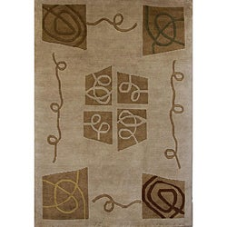 Hand-knotted Gold Geometric Wool Rug (6' x 9')