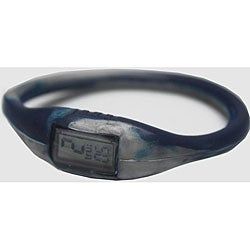 TRU: Navy/ Silver Silicone Band Sports Watch