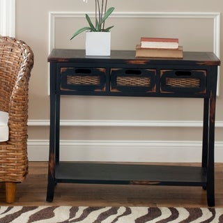 "Safavieh Corby Distressed 3-Drawer Black Console Table - 34"" x 14"" x 30"""