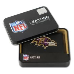 Baltimore Ravens Men's Black Leather Tri-fold Wallet