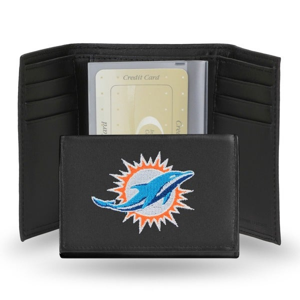 Miami Dolphins Men's Black Leather Tri-fold Wallet