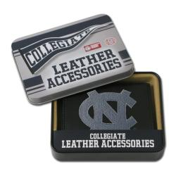 North Carolina Tar Heels Men's Black Leather Tri-fold Wallet