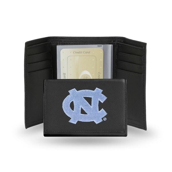 North Carolina Tar Heels Men's Black Leather Tri-fold Wallet 7567086
