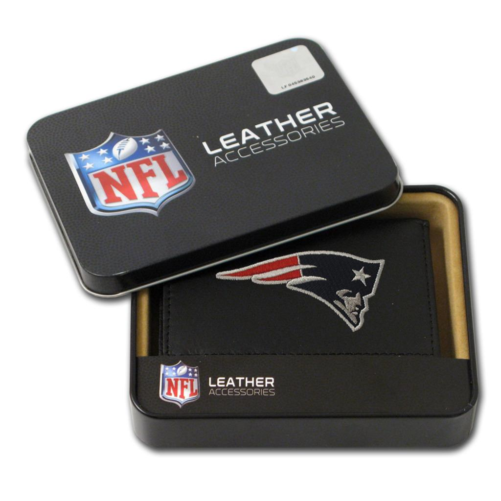 New England Patriots Men's Black Leather Tri-fold Wallet