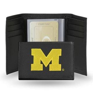 Michigan Wolverines Men's Black Leather Tri-fold Wallet