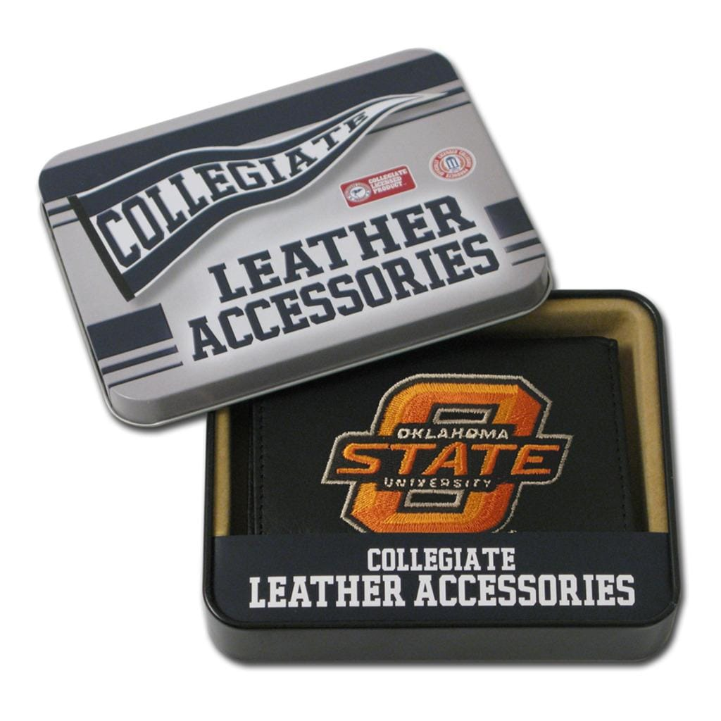 Oklahoma State Cowboys Men's Black Leather Tri-fold Wallet