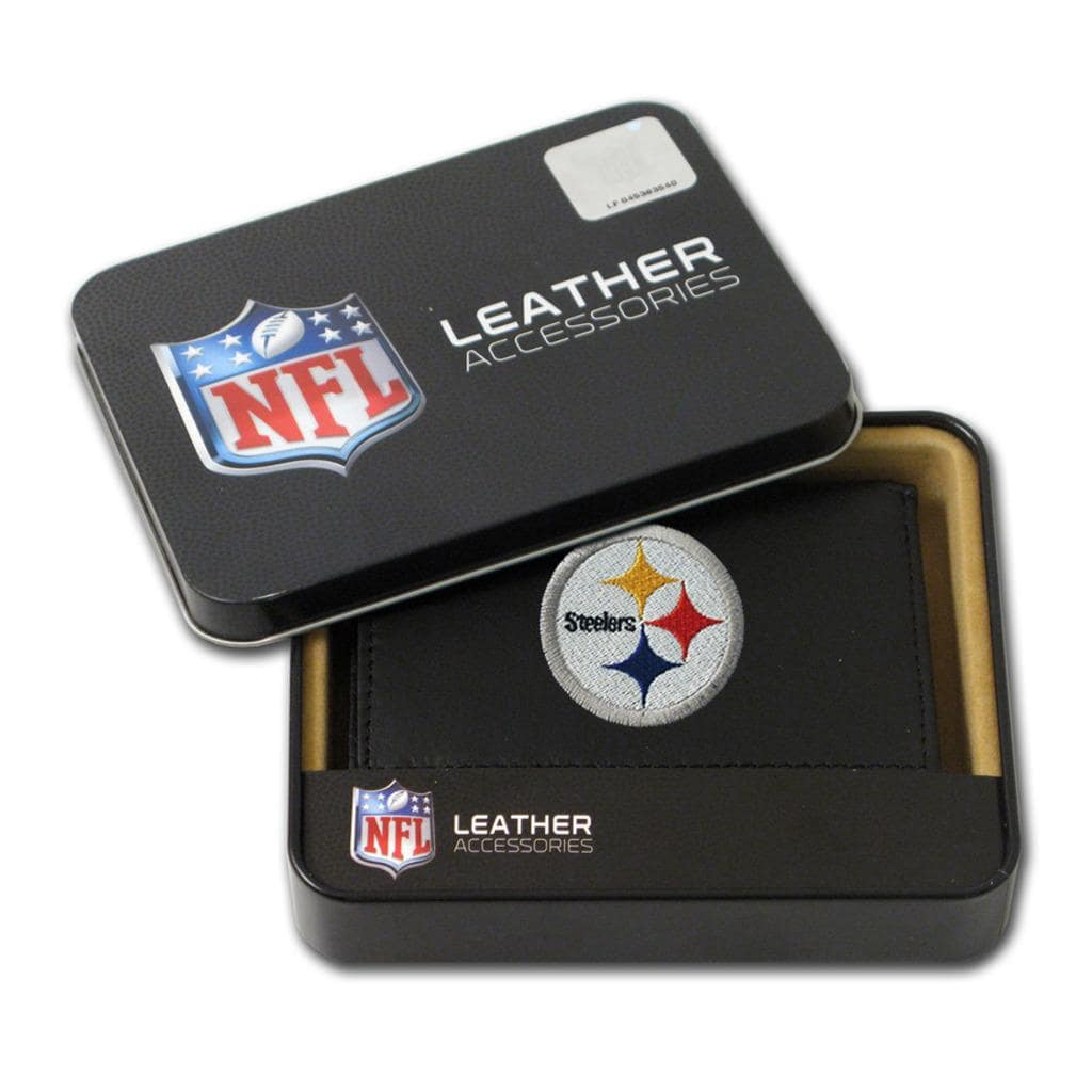 Pittsburgh Steelers Men's Black Leather Tri-fold Wallet