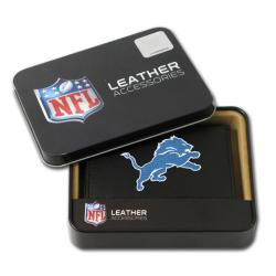 Detroit Lions Men's Black Leather Tri-fold Wallet