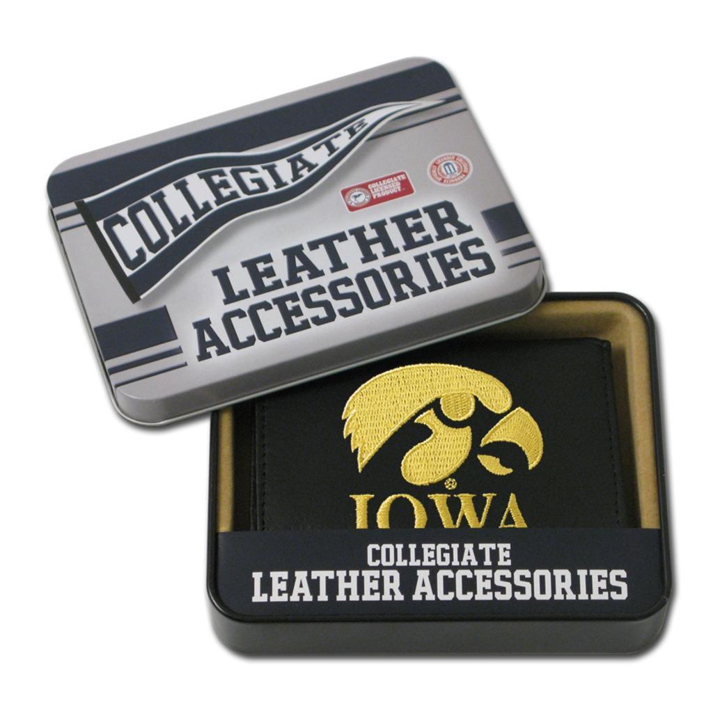 Iowa Hawkeyes Men's Black Leather Tri-fold Wallet