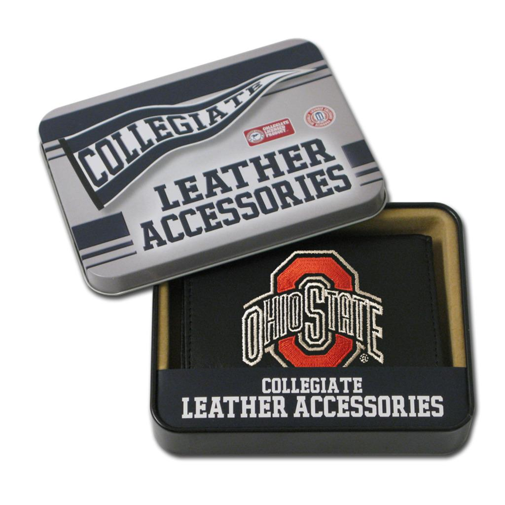 Ohio State Buckeyes Men's Black Leather Tri-fold Wallet