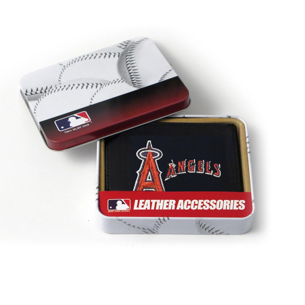 Anaheim Angels Men's Black Leather Tri-fold Wallet