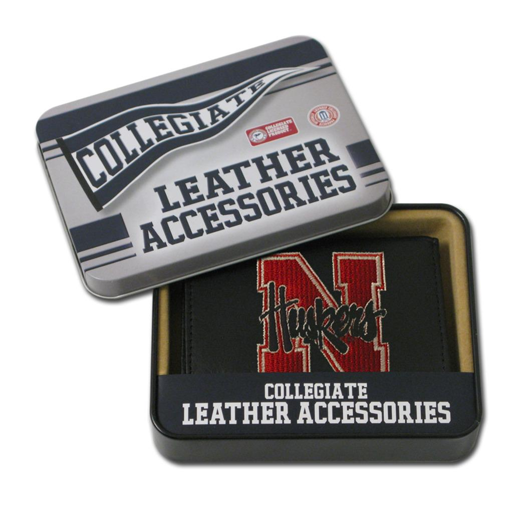 Nebraska Cornhuskers Men's Black Leather Tri-fold Wallet