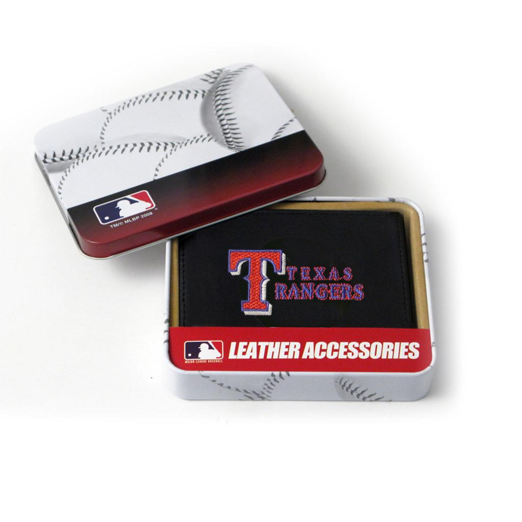 Texas Rangers Men's Black Leather Tri-fold Wallet