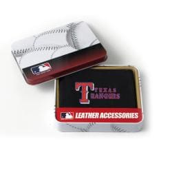Texas Rangers Men's Black Leather Tri-fold Wallet