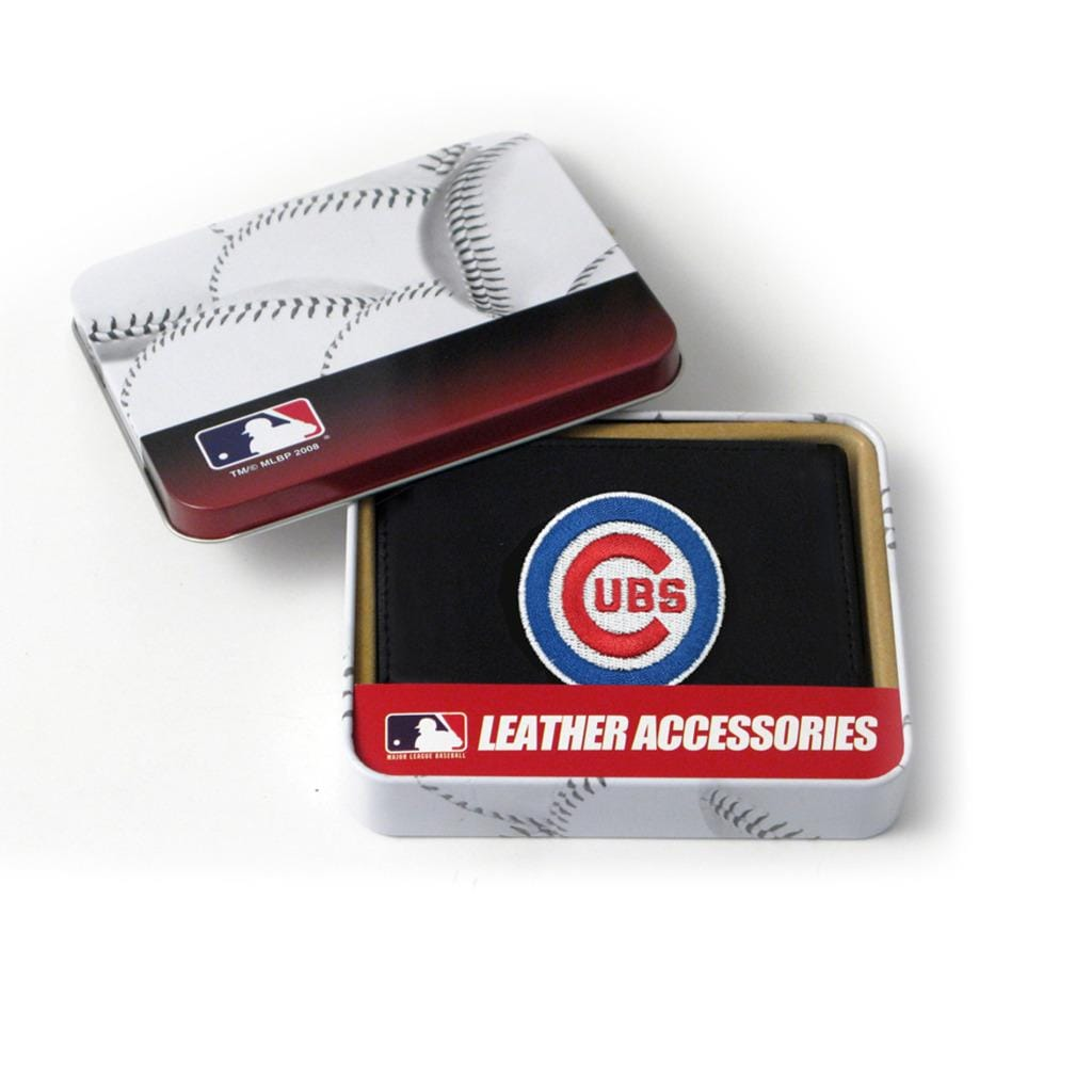 Chicago Cubs Men's Black Leather Tri-fold Wallet