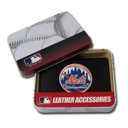 New York Mets Men's Black Leather Tri-fold Wallet