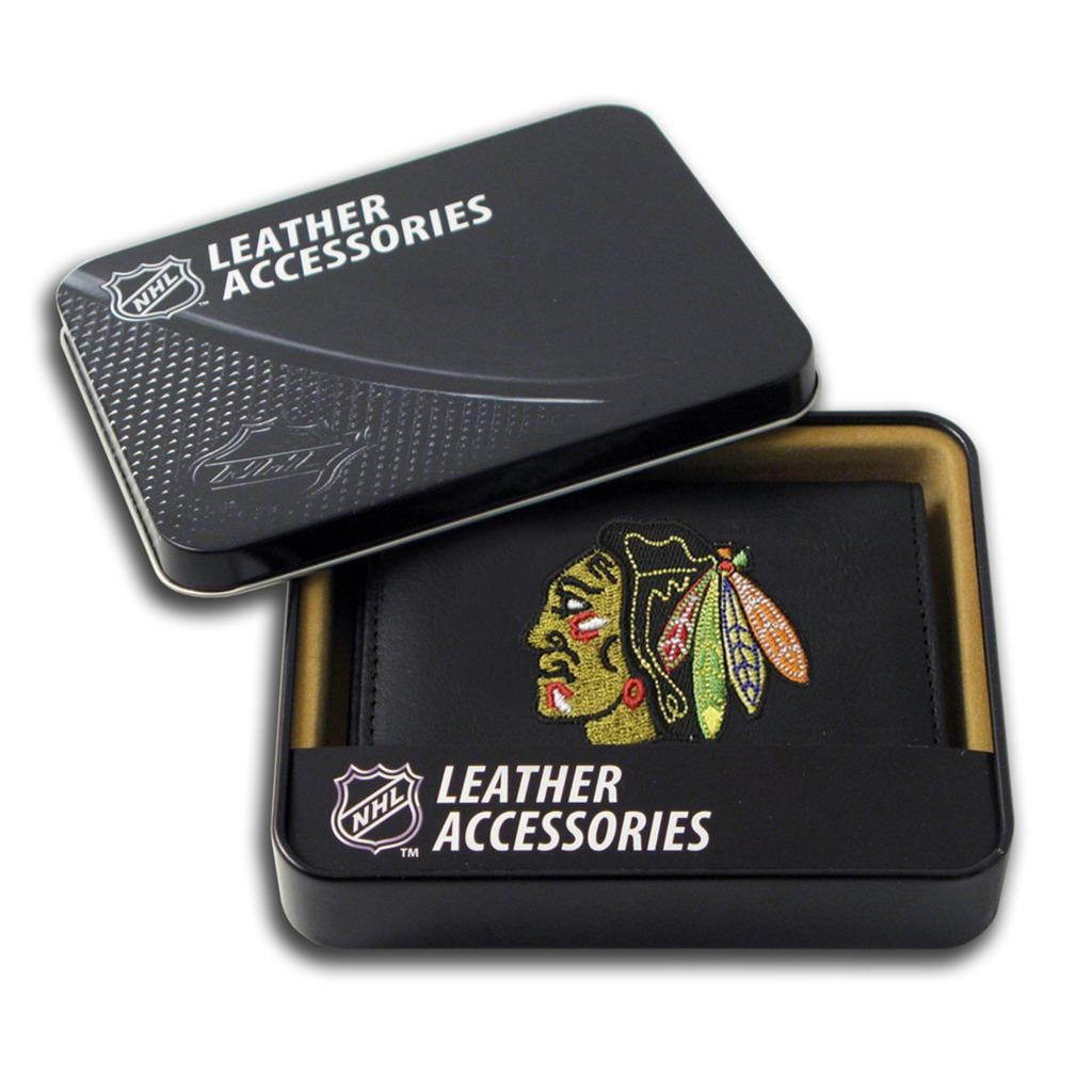 Chicago Blackhawks Men's Black Leather Tri-fold Wallet
