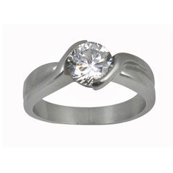 Stainless Steel Round Cubic Zirconia Twisted Band Engagement Ring