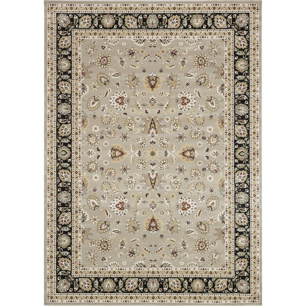 Primeval Tan/ Charcoal Oriental Rug (7'7 x 10'6)