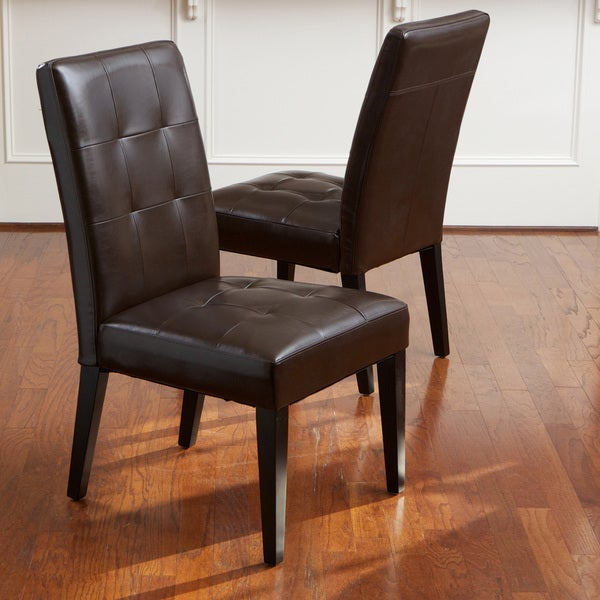 Christopher Knight Home Cambridge Tufted Brown Bonded Leather Dining Chair (Set of 2)
