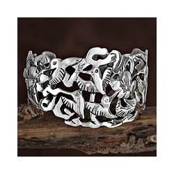Silver 'Hummingbird Mystique' Cuff Bracelet (Mexico)