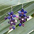 Silver 'Bloom' Freshwater Pearl Amethyst Earrings (4-6 mm) (Thailand)