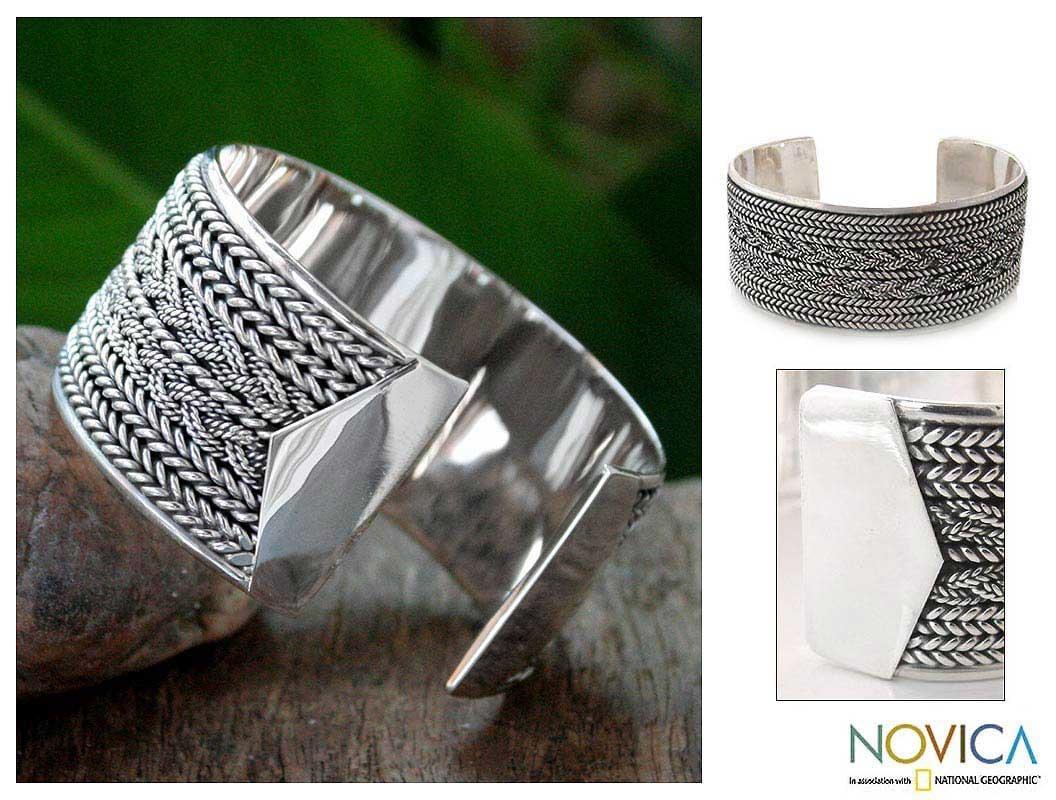 Sterling Silver 'Wicker Weave' Cuff Bracelet (Thailand)