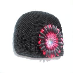 Black Crocheted Hat with Black and Hot Pink Flower Clip