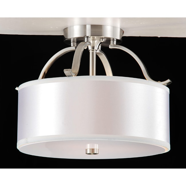 Altea 3-light Curved Nickel Semi Flush Chandelier