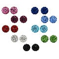 Sterling Silver Crystal Studded 6-mm Round Stud Earrings