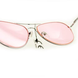 Women's 30011c Silvertone Aviator Sunglasses with Pink Lenses