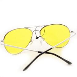 Women's 30011c Silvertone Aviator Sunglasses with Yellow Lenses
