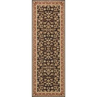 Primeval Coffee/ Paprika Oriental Runner Rug (2'8 x 7'7)