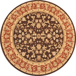 Hand-Tufted Primeval Brown Oriental Indoor/Outdoor Rug (7'7 Round)