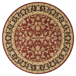 Hand-tufted Primeval Orange Oriental Rug (7'7 Round)
