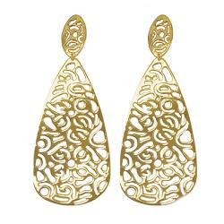 Adee Waiss 18k Goldplated Sterling Silver Cutout Teardrop Earrings